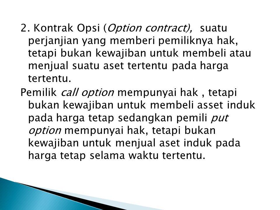 2. Kontrak Opsi (Option contract), suatu perjanjian yang memberi pemiliknya hak, tetapi bukan kewajiban untuk membeli atau menjual suatu aset tertentu