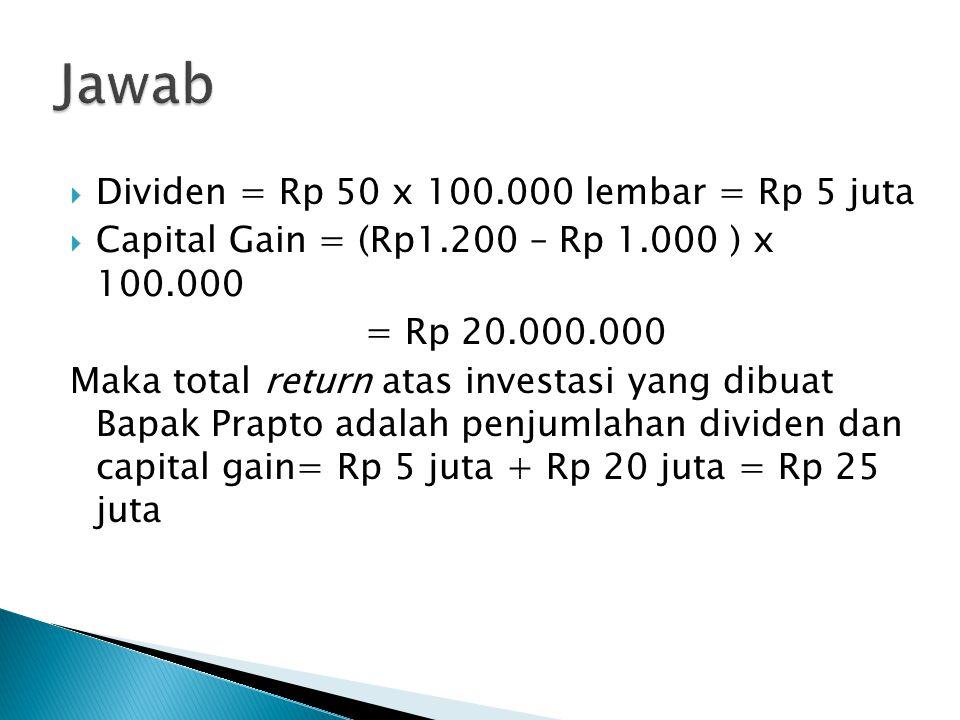  Dividen = Rp 50 x 100.000 lembar = Rp 5 juta  Capital Gain = (Rp1.200 – Rp 1.000 ) x 100.000 = Rp 20.000.000 Maka total return atas investasi yang