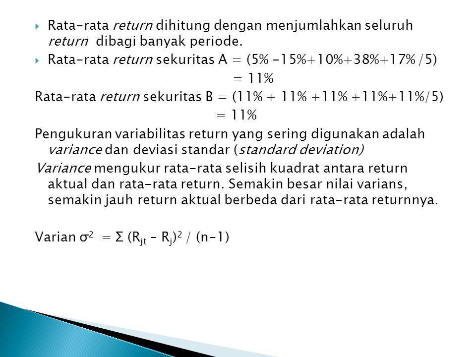  Rata-rata return dihitung dengan menjumlahkan seluruh return dibagi banyak periode.  Rata-rata return sekuritas A = (5% -15%+10%+38%+17% /5) = 11%