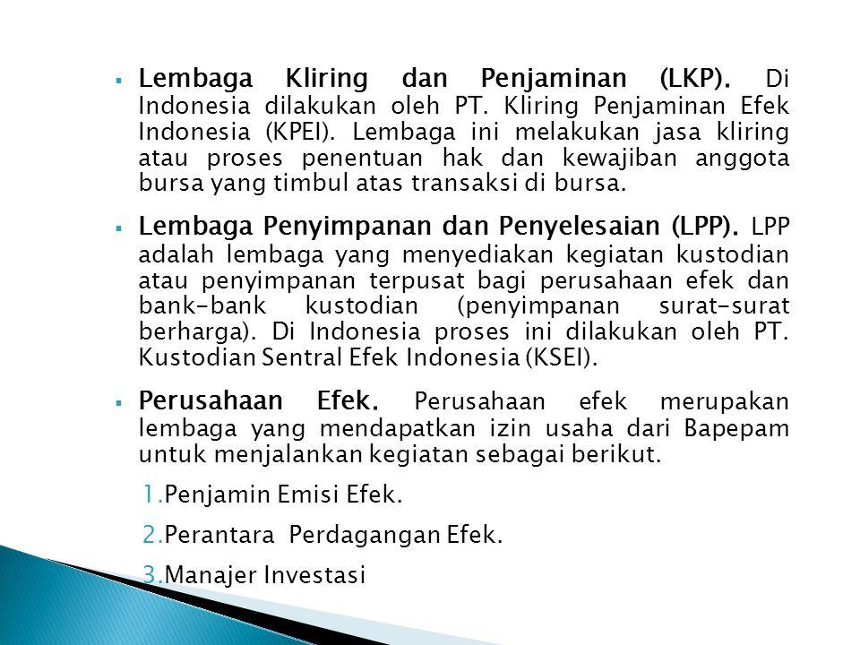  Lembaga Kliring dan Penjaminan (LKP).Di Indonesia dilakukan oleh PT.