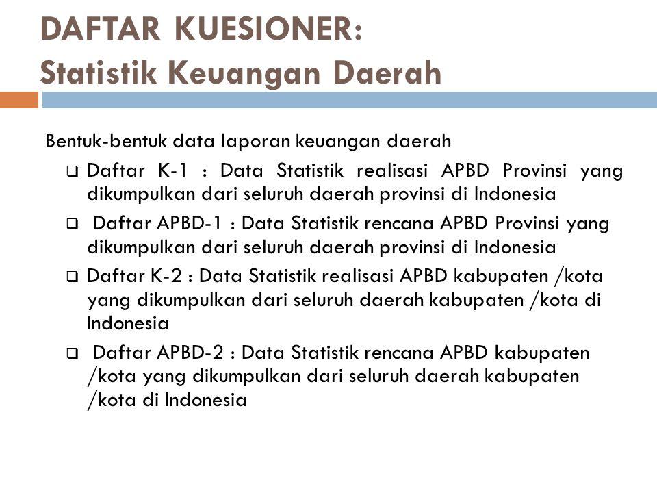 DAFTAR KUESIONER: Statistik Keuangan Daerah Bentuk-bentuk data laporan keuangan daerah  Daftar K-1 : Data Statistik realisasi APBD Provinsi yang diku