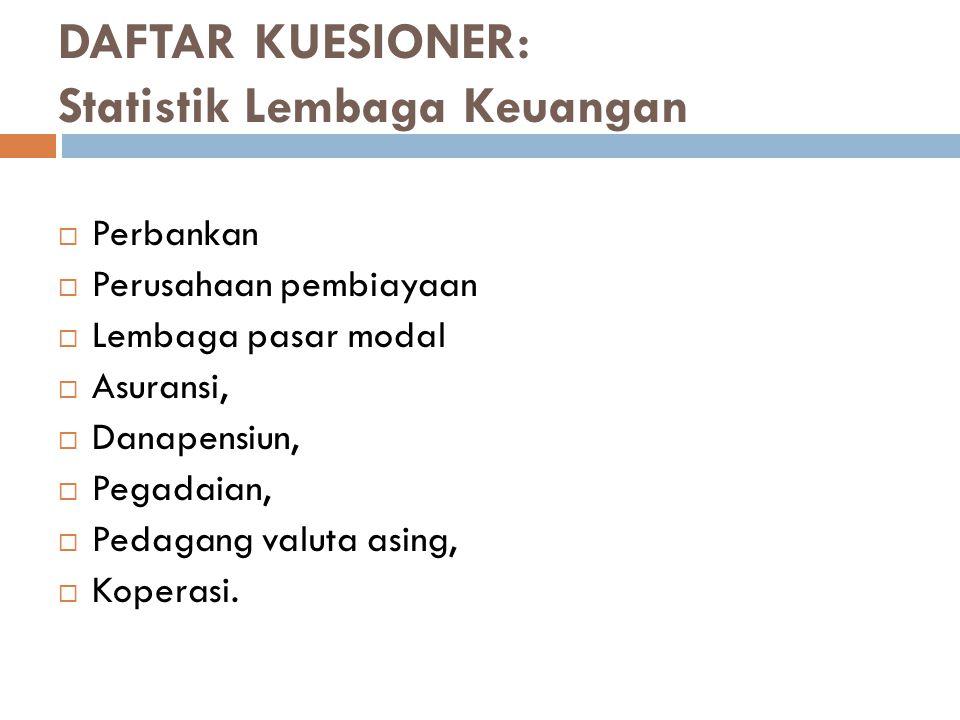 DAFTAR KUESIONER: Statistik Lembaga Keuangan  Perbankan  Perusahaan pembiayaan  Lembaga pasar modal  Asuransi,  Danapensiun,  Pegadaian,  Pedag