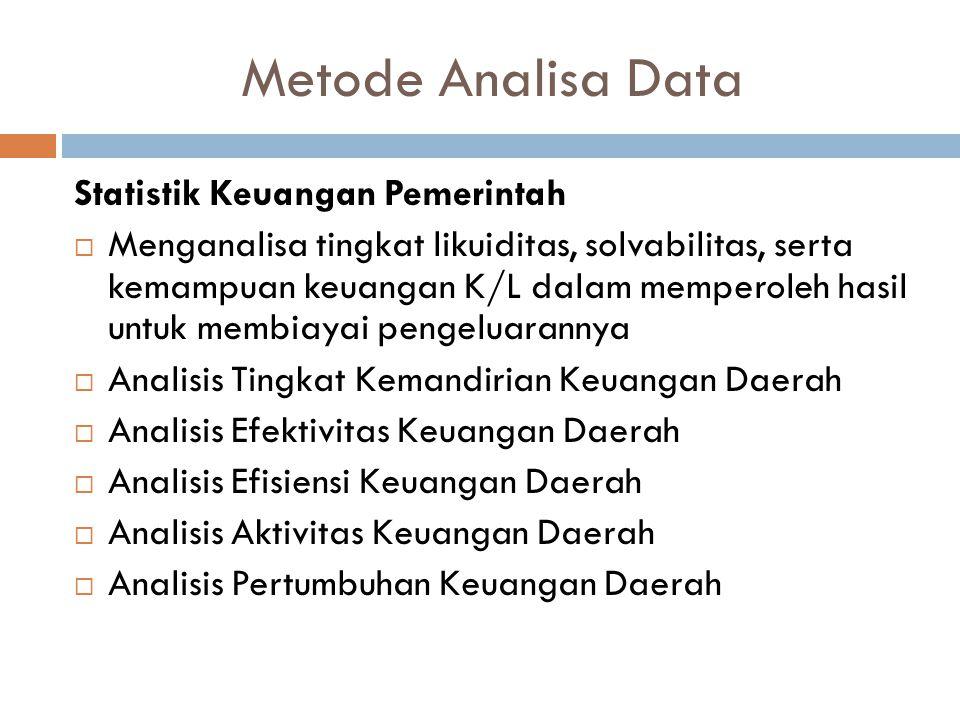 Metode Analisa Data Statistik Keuangan Pemerintah  Menganalisa tingkat likuiditas, solvabilitas, serta kemampuan keuangan K/L dalam memperoleh hasil