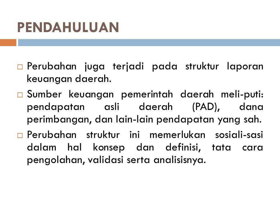PENDAHULUAN  Perubahan juga terjadi pada struktur laporan keuangan daerah.  Sumber keuangan pemerintah daerah meli-puti: pendapatan asli daerah (PAD