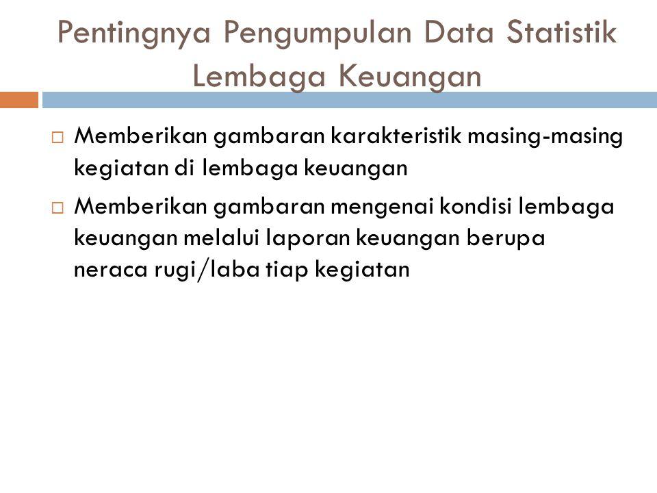 Pentingnya Pengumpulan Data Statistik Lembaga Keuangan  Memberikan gambaran karakteristik masing-masing kegiatan di lembaga keuangan  Memberikan gam