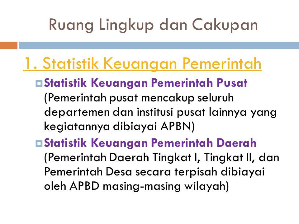 Ruang Lingkup dan Cakupan 1. Statistik Keuangan Pemerintah  Statistik Keuangan Pemerintah Pusat (Pemerintah pusat mencakup seluruh departemen dan ins