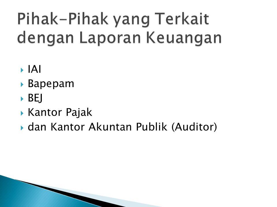  IAI  Bapepam  BEJ  Kantor Pajak  dan Kantor Akuntan Publik (Auditor)