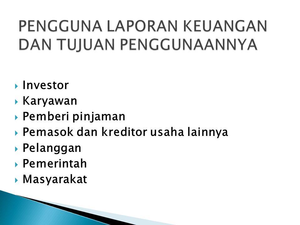  Investor  Karyawan  Pemberi pinjaman  Pemasok dan kreditor usaha lainnya  Pelanggan  Pemerintah  Masyarakat