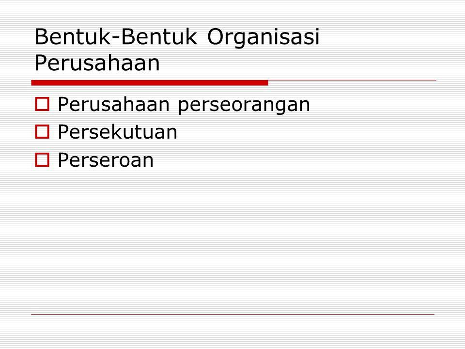Bentuk-Bentuk Organisasi Perusahaan  Perusahaan perseorangan  Persekutuan  Perseroan