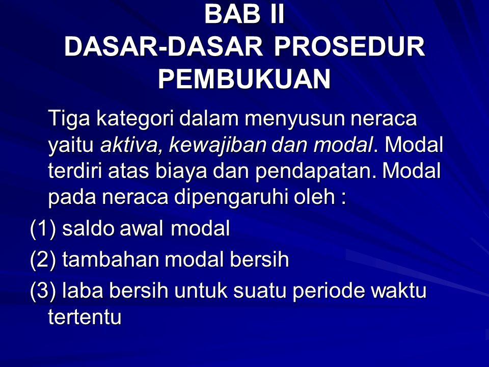 BAB II DASAR-DASAR PROSEDUR PEMBUKUAN Tiga kategori dalam menyusun neraca yaitu aktiva, kewajiban dan modal. Modal terdiri atas biaya dan pendapatan.