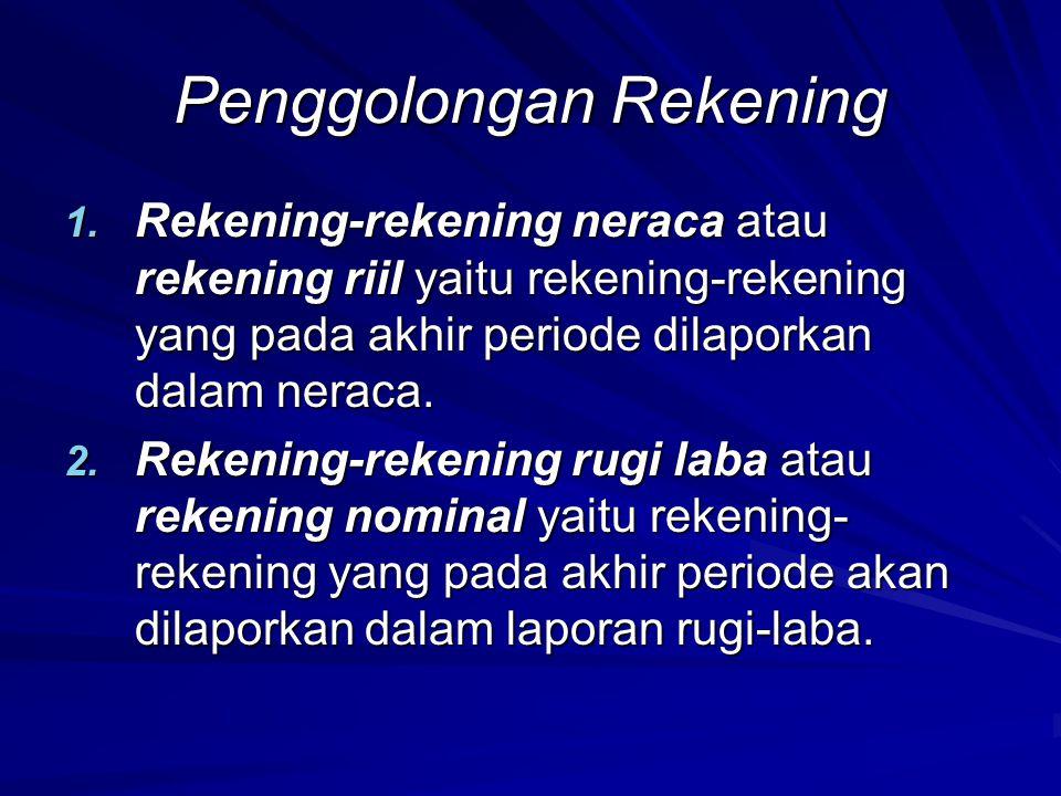 Penggolongan Rekening 1. Rekening-rekening neraca atau rekening riil yaitu rekening-rekening yang pada akhir periode dilaporkan dalam neraca. 2. Reken