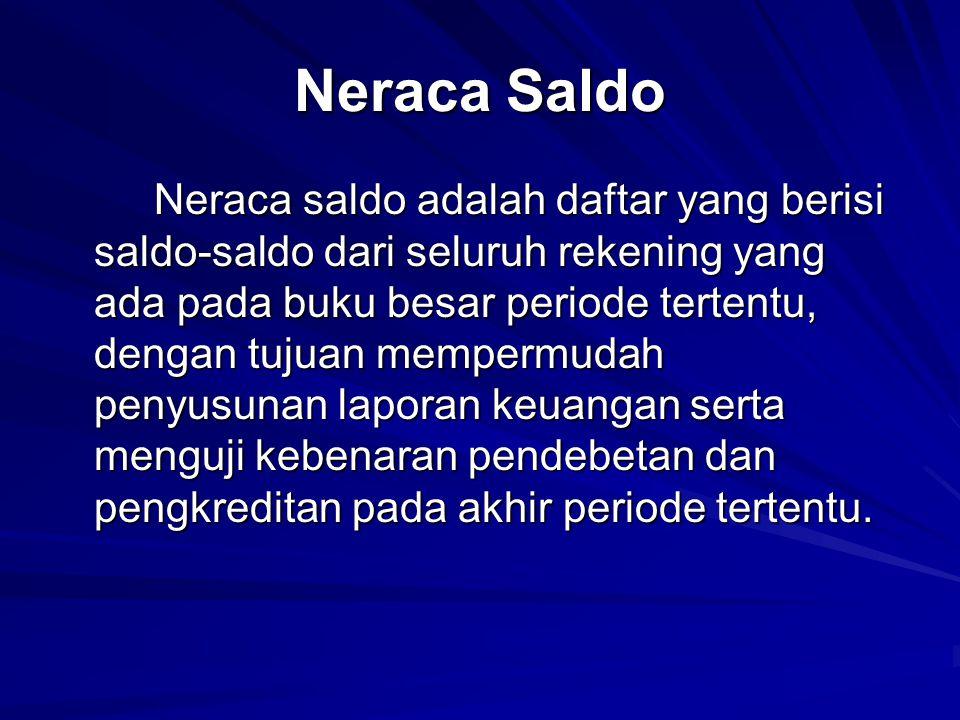 Neraca Saldo Neraca saldo adalah daftar yang berisi saldo-saldo dari seluruh rekening yang ada pada buku besar periode tertentu, dengan tujuan memperm