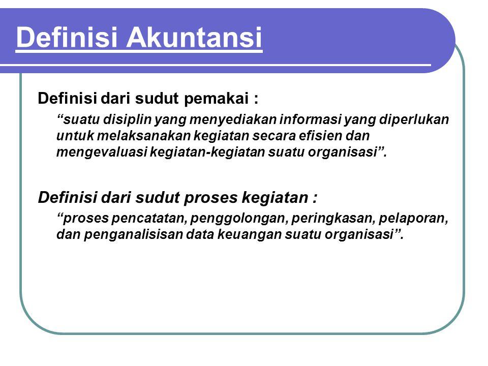 """Definisi Akuntansi Definisi dari sudut pemakai : """"suatu disiplin yang menyediakan informasi yang diperlukan untuk melaksanakan kegiatan secara efisien"""