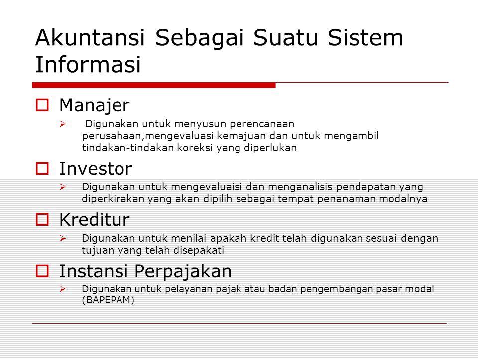 Akuntansi Sebagai Suatu Sistem Informasi MManajer  Digunakan untuk menyusun perencanaan perusahaan,mengevaluasi kemajuan dan untuk mengambil tindak