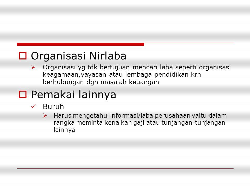 OOrganisasi Nirlaba OOrganisasi yg tdk bertujuan mencari laba seperti organisasi keagamaan,yayasan atau lembaga pendidikan krn berhubungan dgn mas