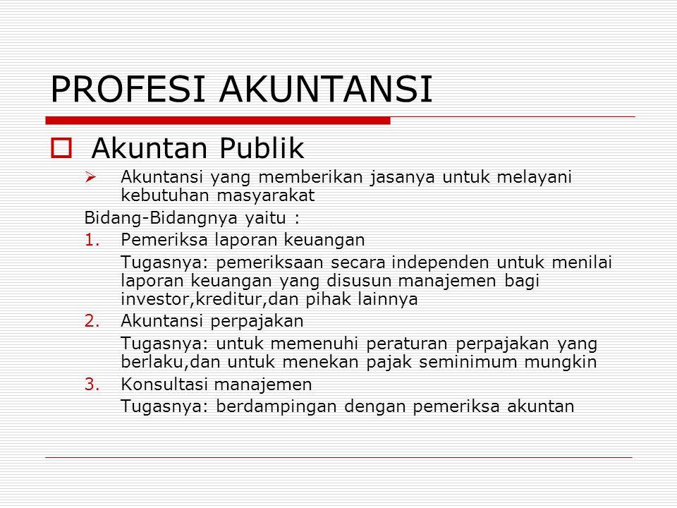 PROFESI AKUNTANSI AAkuntan Publik AAkuntansi yang memberikan jasanya untuk melayani kebutuhan masyarakat Bidang-Bidangnya yaitu : 1.Pemeriksa lapo