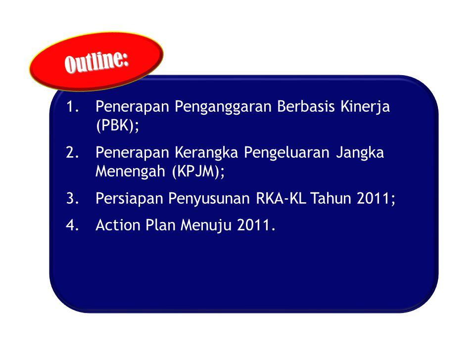 1.Penerapan Penganggaran Berbasis Kinerja (PBK); 2.Penerapan Kerangka Pengeluaran Jangka Menengah (KPJM); 3.Persiapan Penyusunan RKA-KL Tahun 2011; 4.