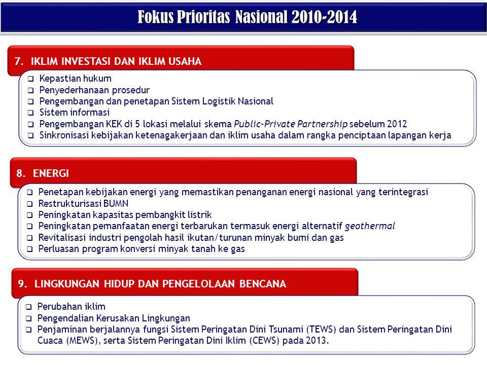 7. IKLIM INVESTASI DAN IKLIM USAHA 8. ENERGI 9. LINGKUNGAN HIDUP DAN PENGELOLAAN BENCANA Fokus Prioritas Nasional 2010-2014 Fokus Prioritas Nasional 2