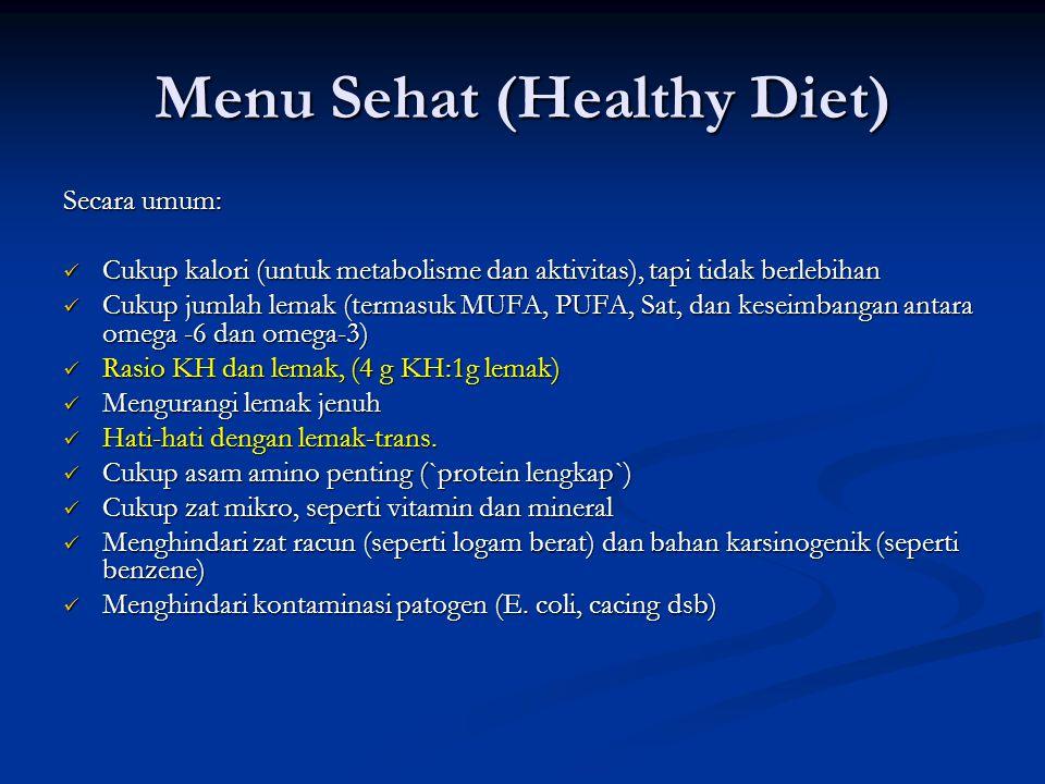 Menu Sehat (Healthy Diet) Secara umum: Cukup kalori (untuk metabolisme dan aktivitas), tapi tidak berlebihan Cukup kalori (untuk metabolisme dan aktiv