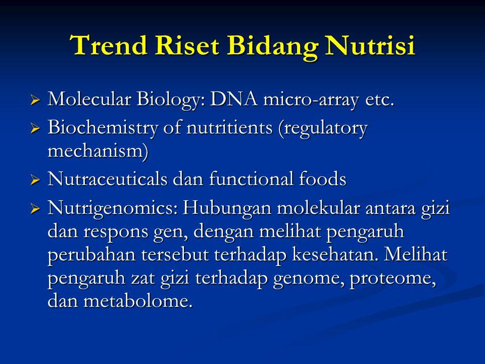 Trend Riset Bidang Nutrisi  Molecular Biology: DNA micro-array etc.  Biochemistry of nutritients (regulatory mechanism)  Nutraceuticals dan functio