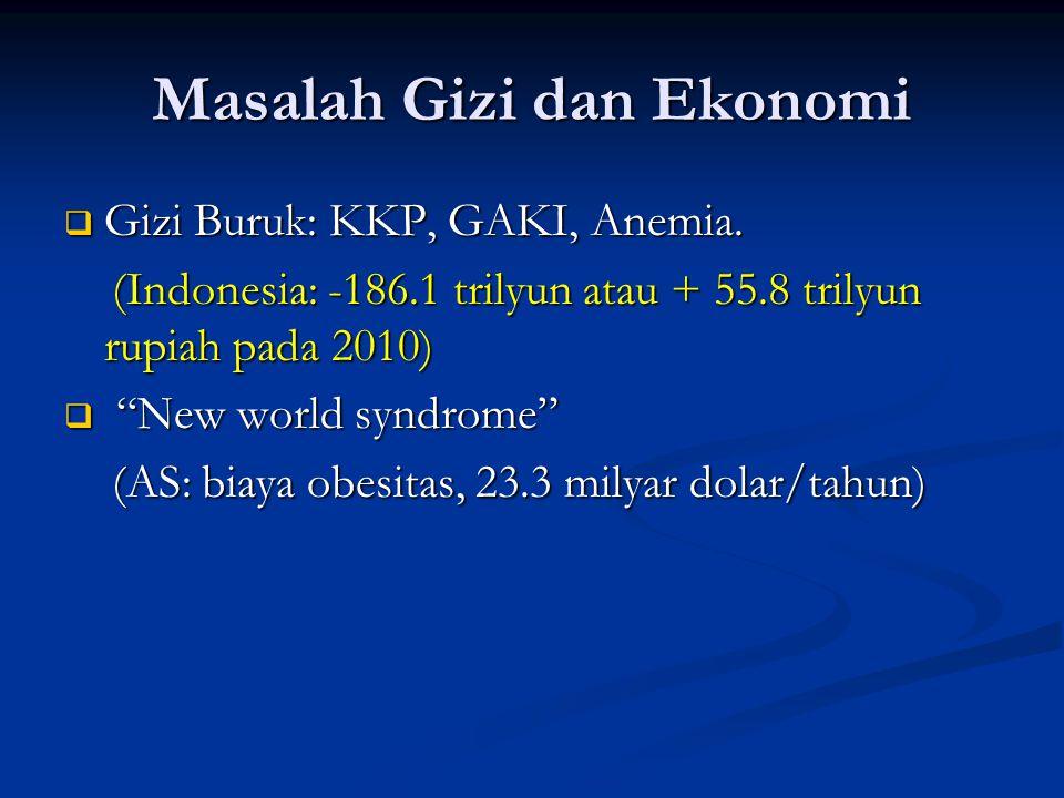 Masalah Gizi dan Ekonomi  Gizi Buruk: KKP, GAKI, Anemia. (Indonesia: -186.1 trilyun atau + 55.8 trilyun rupiah pada 2010) (Indonesia: -186.1 trilyun