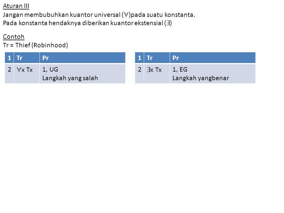Aturan III Jangan membubuhkan kuantor universal (  )pada suatu konstanta. Pada konstanta hendaknya diberikan kuantor ekstensial (  ) Contoh Tr = Thi