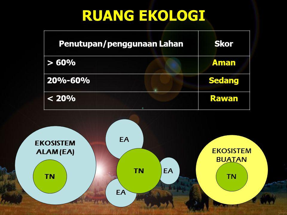 RUANG EKOLOGI EKOSISTEM ALAM (EA) TN EA TN EKOSISTEM BUATAN TN Penutupan/penggunaan LahanSkor > 60%Aman 20%-60%Sedang < 20%Rawan