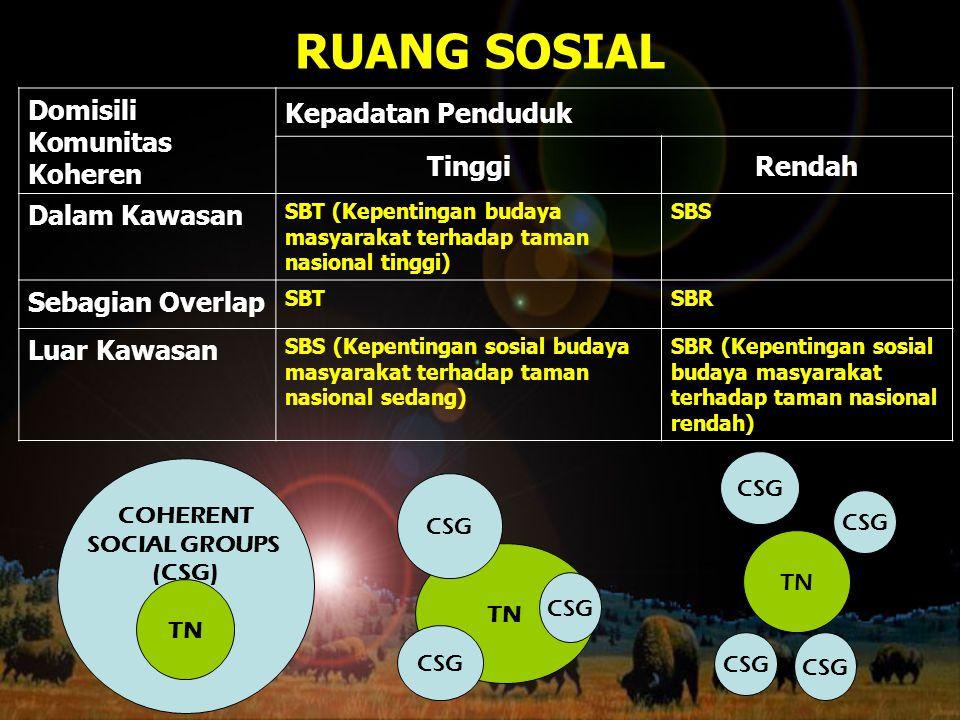 RUANG SOSIAL COHERENT SOCIAL GROUPS (CSG) TN CSG TN CSG Domisili Komunitas Koheren Kepadatan Penduduk TinggiRendah Dalam Kawasan SBT (Kepentingan buda