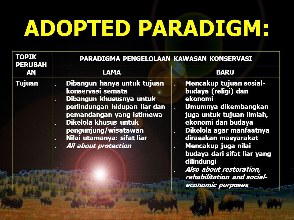 ADOPTED PARADIGM: TOPIK PERUBAH AN PARADIGMA PENGELOLAAN KAWASAN KONSERVASI LAMABARU Tujuan o Dibangun hanya untuk tujuan konservasi semata o Dibangun