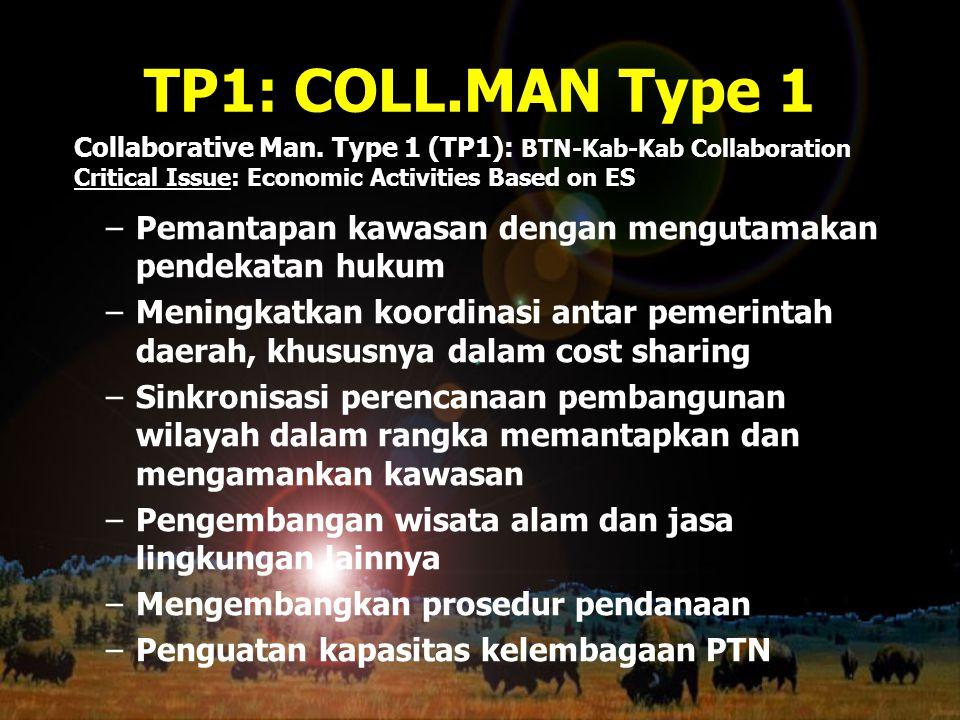 TP1: COLL.MAN Type 1 –Pemantapan kawasan dengan mengutamakan pendekatan hukum –Meningkatkan koordinasi antar pemerintah daerah, khususnya dalam cost s
