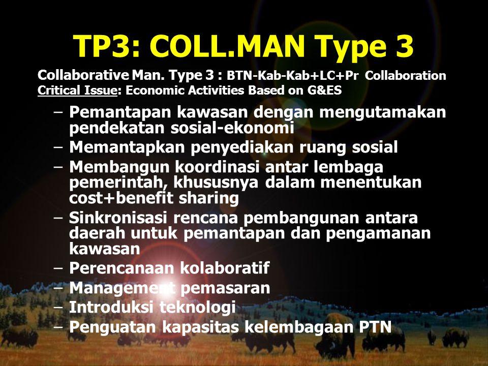 TP3: COLL.MAN Type 3 –Pemantapan kawasan dengan mengutamakan pendekatan sosial-ekonomi –Memantapkan penyediakan ruang sosial –Membangun koordinasi ant