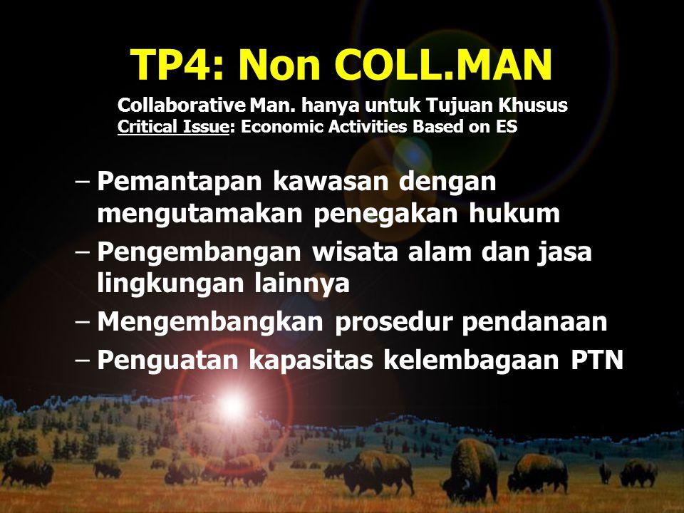 TP4: Non COLL.MAN –Pemantapan kawasan dengan mengutamakan penegakan hukum –Pengembangan wisata alam dan jasa lingkungan lainnya –Mengembangkan prosedu