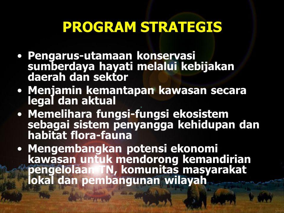PROGRAM STRATEGIS Pengarus-utamaan konservasi sumberdaya hayati melalui kebijakan daerah dan sektor Menjamin kemantapan kawasan secara legal dan aktua