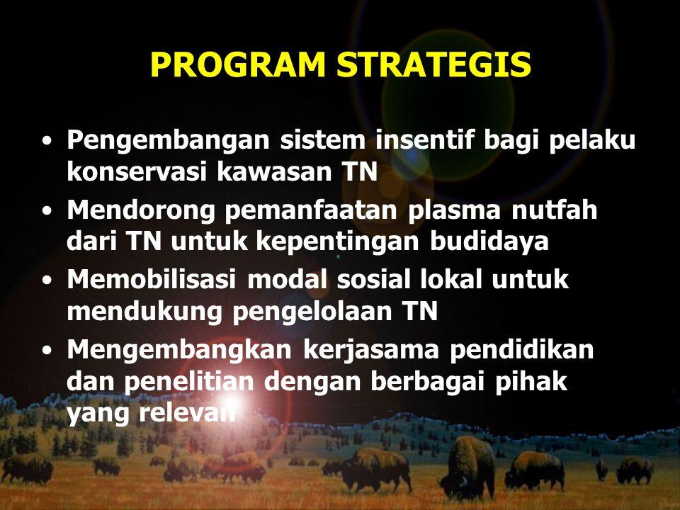 PROGRAM STRATEGIS Pengembangan sistem insentif bagi pelaku konservasi kawasan TN Mendorong pemanfaatan plasma nutfah dari TN untuk kepentingan budiday