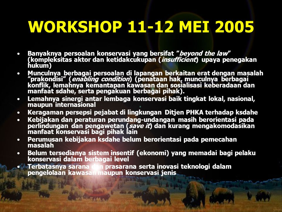 """WORKSHOP 11-12 MEI 2005 Banyaknya persoalan konservasi yang bersifat """"beyond the law"""" (kompleksitas aktor dan ketidakcukupan (insufficient) upaya pene"""