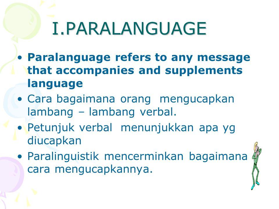 I.PARALANGUAGE Paralanguage refers to any message that accompanies and supplements language Cara bagaimana orang mengucapkan lambang – lambang verbal.