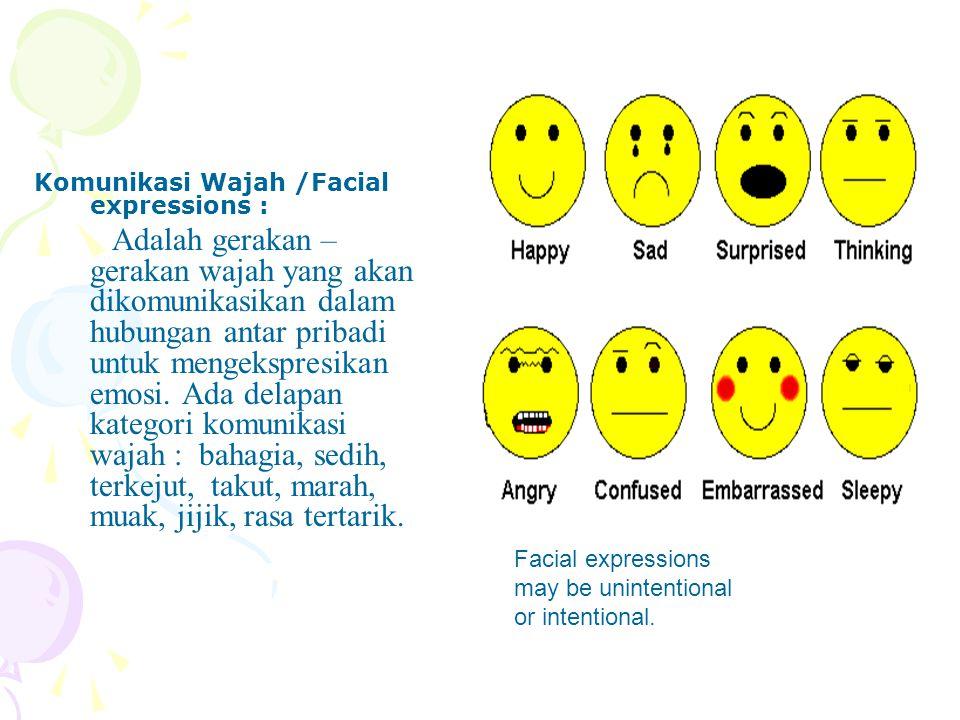 Komunikasi Wajah /Facial expressions : Adalah gerakan – gerakan wajah yang akan dikomunikasikan dalam hubungan antar pribadi untuk mengekspresikan emo