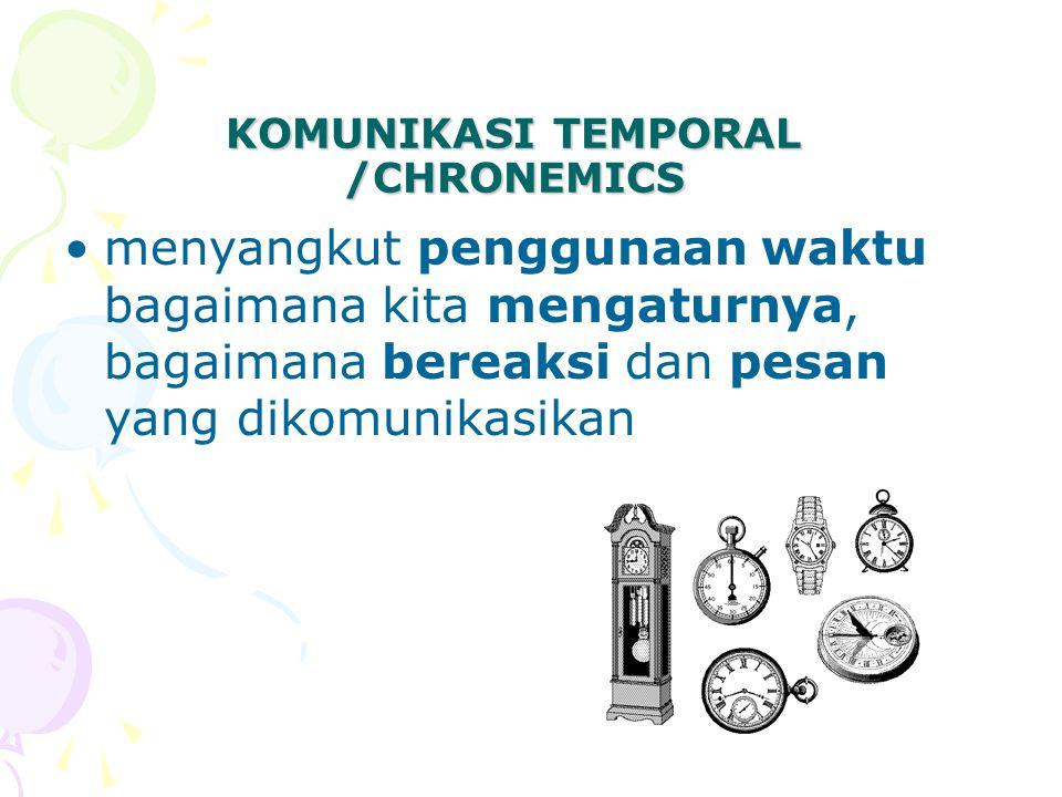 KOMUNIKASI TEMPORAL /CHRONEMICS menyangkut penggunaan waktu bagaimana kita mengaturnya, bagaimana bereaksi dan pesan yang dikomunikasikan