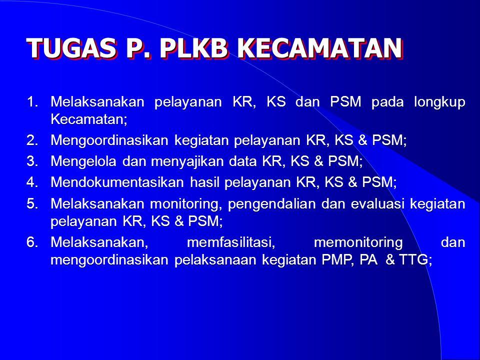 1.Melaksanakan pelayanan KR, KS dan PSM pada longkup Kecamatan; 2.Mengoordinasikan kegiatan pelayanan KR, KS & PSM; 3.Mengelola dan menyajikan data KR