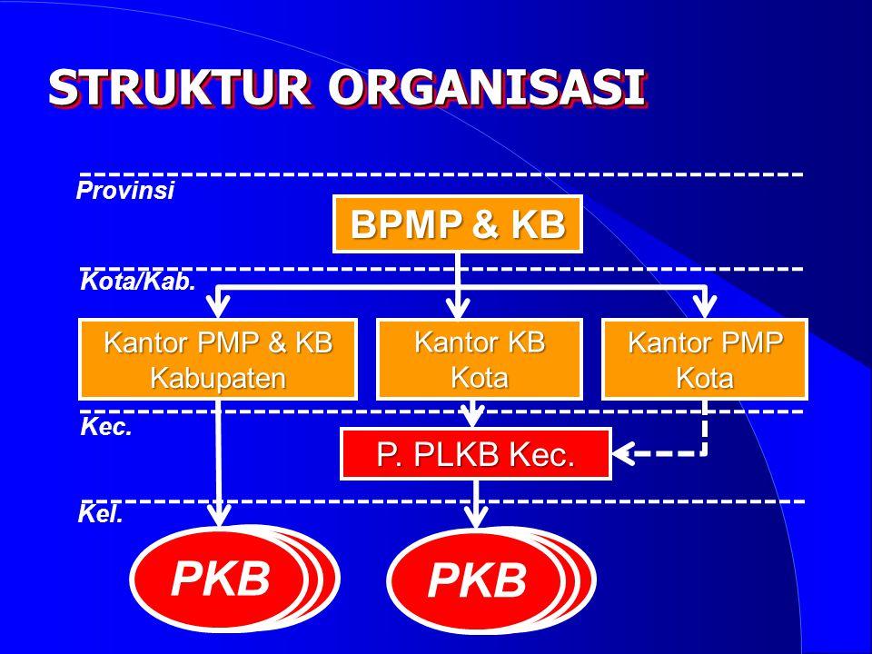 STRUKTUR ORGANISASI BPMP & KB Kantor KB Kota Kantor PMP Kota Kantor PMP & KB Kabupaten Provinsi Kota/Kab. Kec. P. PLKB Kec. Kel. PKB
