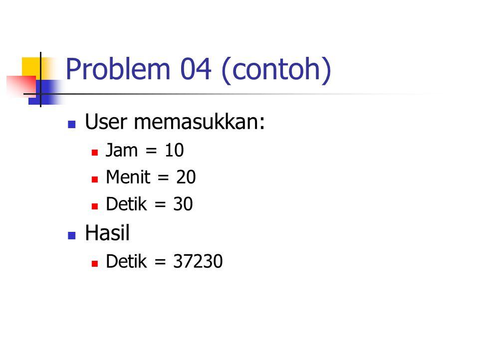 Problem 04 (contoh) User memasukkan: Jam = 10 Menit = 20 Detik = 30 Hasil Detik = 37230