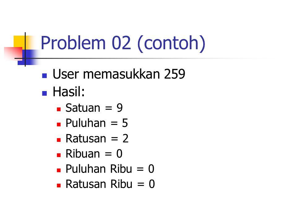 Problem 02 (contoh) User memasukkan 259 Hasil: Satuan = 9 Puluhan = 5 Ratusan = 2 Ribuan = 0 Puluhan Ribu = 0 Ratusan Ribu = 0