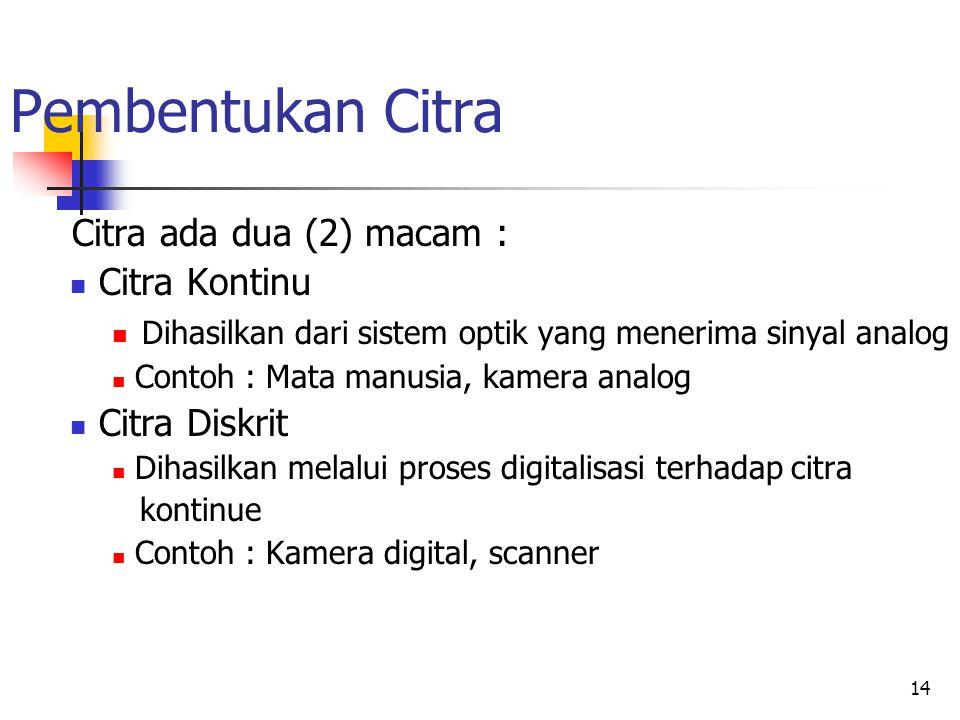 14 Pembentukan Citra Citra ada dua (2) macam : Citra Kontinu Dihasilkan dari sistem optik yang menerima sinyal analog Contoh : Mata manusia, kamera an