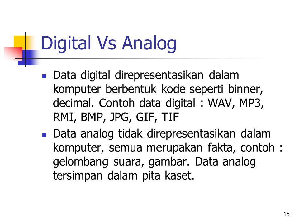 15 Digital Vs Analog Data digital direpresentasikan dalam komputer berbentuk kode seperti binner, decimal. Contoh data digital : WAV, MP3, RMI, BMP, J