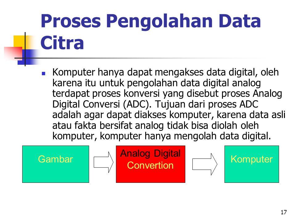 17 Proses Pengolahan Data Citra Komputer hanya dapat mengakses data digital, oleh karena itu untuk pengolahan data digital analog terdapat proses konv