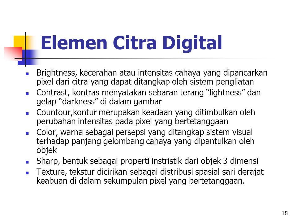 18 Elemen Citra Digital Brightness, kecerahan atau intensitas cahaya yang dipancarkan pixel dari citra yang dapat ditangkap oleh sistem pengliatan Con
