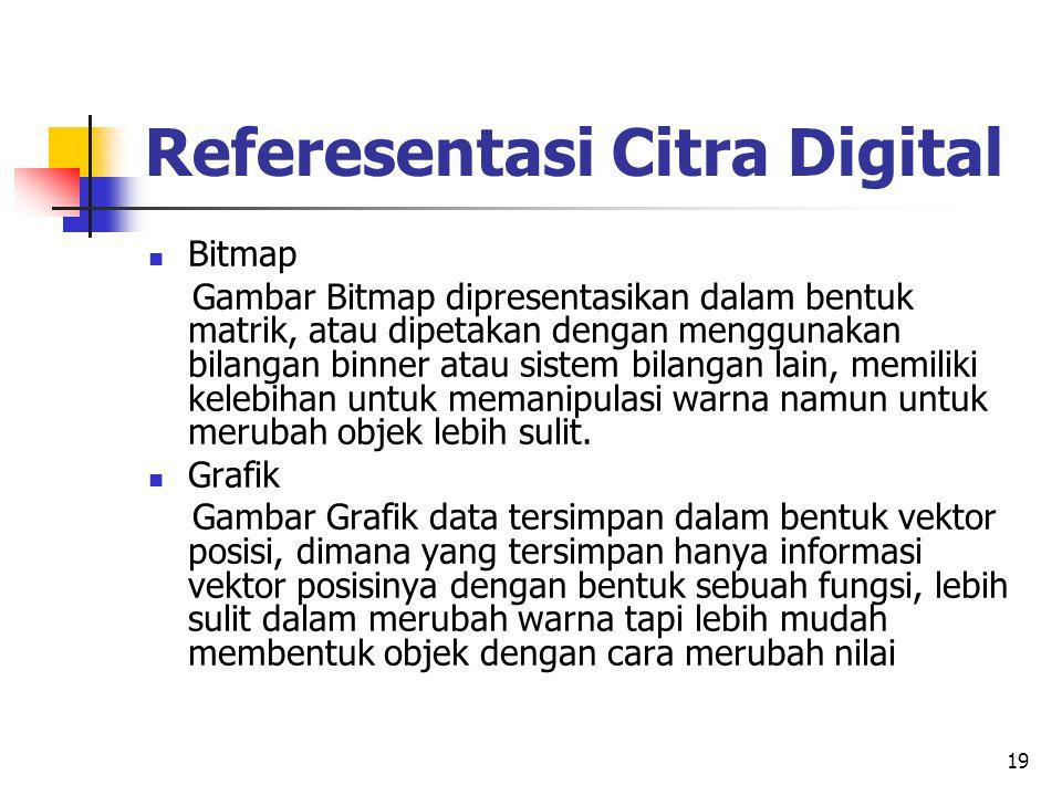19 Referesentasi Citra Digital Bitmap Gambar Bitmap dipresentasikan dalam bentuk matrik, atau dipetakan dengan menggunakan bilangan binner atau sistem