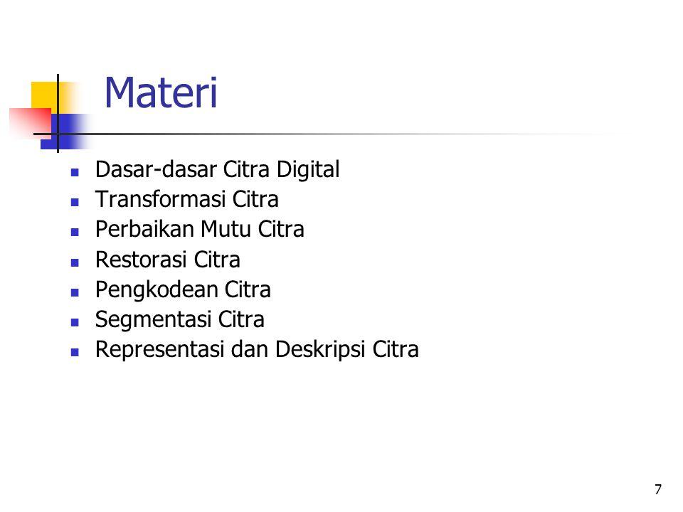 7 Materi Dasar-dasar Citra Digital Transformasi Citra Perbaikan Mutu Citra Restorasi Citra Pengkodean Citra Segmentasi Citra Representasi dan Deskrips