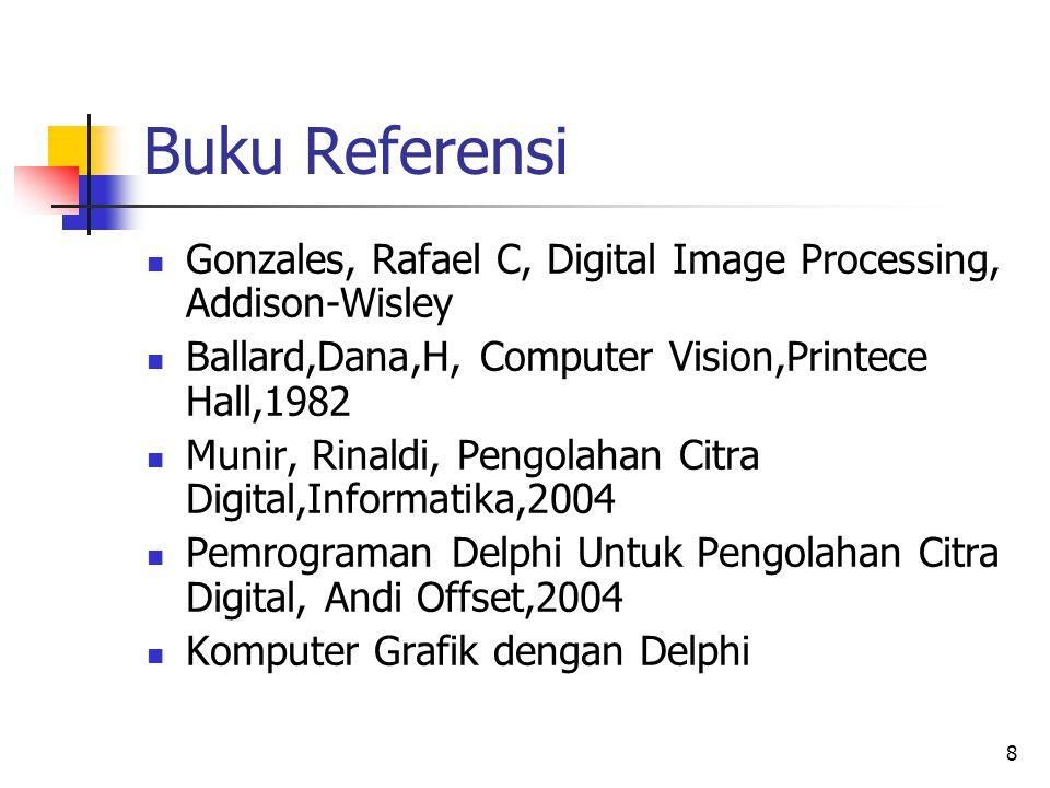 8 Buku Referensi Gonzales, Rafael C, Digital Image Processing, Addison-Wisley Ballard,Dana,H, Computer Vision,Printece Hall,1982 Munir, Rinaldi, Pengo