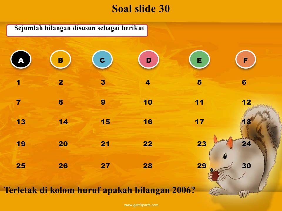 Soal slide 30 Sejumlah bilangan disusun sebagai berikut ABCDEF 1 23 4 56 7 89 10 1112 13 1415 16 1718 19 2021 22 2324 25 2627 28 2930 Terletak di kolo